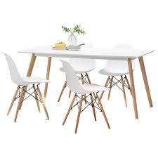 Replica Eames Dining Table White Scandi Dining Table Set With 4 White Replica Eames Chairs