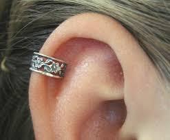 ear cuff piercing pierced floral lace cartilage ear cuff sterling silver