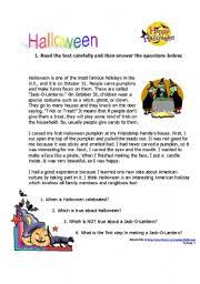 esl worksheets for adults halloween reading