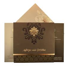 cheap indian wedding cards wedding card in brown with traditional golden prints