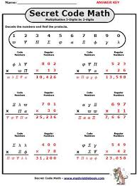 secret code math worksheets adding subtracting multiplying