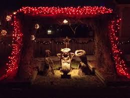 nativity scene with christmas lights picture free photograph