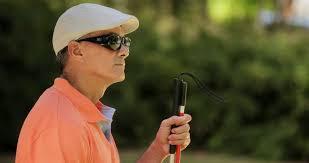 Blind People Glasses Blind Man In Black Glasses Speaks By Phone In The Hotel Blind