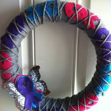 argyle thyroid cancer awareness wreath in pink teal purple with