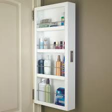 Over Door Closet Organizer - white solid wood cabidor behind the door storage with brass metal