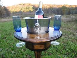 outdoor wine glass holder table outdoor wine table with ice bucket and wine glass holders wine