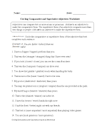 adjectives worksheets comparative and superlative adjectives