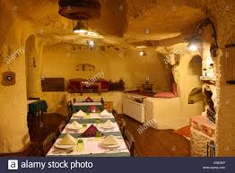 interior of urgup evi rock house cave hotel dining room carved out