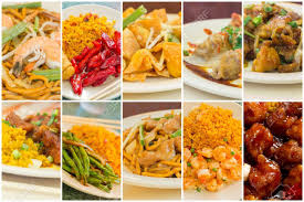 popular cuisine various popular food take out dishes in collage image stock