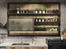 Rustic Kitchen Sink Modern Rustic Kitchen Shelves Design With Board As Foundation