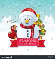 frosty snowman on blue snowy winter stock vector 230308603
