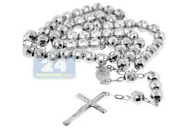 rosary necklace silver images 925 sterling silver mens diamond cut rosary necklace 22 inches jpg