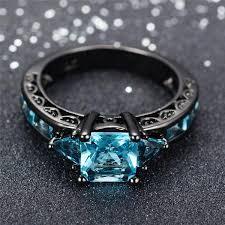 black gemstone rings images Aquamarine gemstone ring 10kt black gold plated intershoppy jpg
