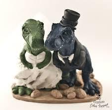 dinosaur wedding cake topper t rex dinosaur wedding cake topper realistic dino and groom