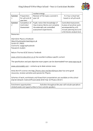 king edward vi five ways schoo year 10 curriculum booklet page