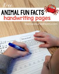 animal fun facts free handwriting worksheets the measured mom