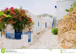 Painted Houses Street Scene Greek Island Milos White Stucco Painted Houses