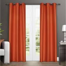 Orange And Brown Curtains Antique Satin Orange Crush Grommet Top Window Curtain Eh7933 73 2