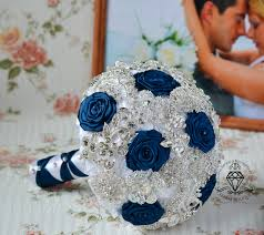 silver and royal blue wedding royal blue bouquet silver bouquet navy blue bouquet brooch