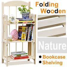 3tiers wooden folding display bookshelf book shelves shelving