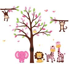 pink and green tree wall decal with jungle wall art for kids pink and green wall decals tree with stickers jungle for children