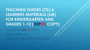 teacher u0027s guide tg u0026 learners materials lm for kindergarten