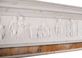 neo classical english statuary marble fireplace mantel with siena