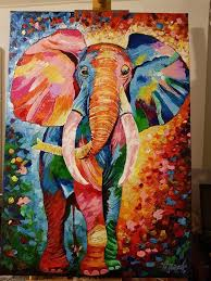 acrylic elephant ring holder images Elephant pop art acrylic painting paintings on canvas jpg