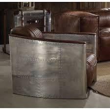 acme 53548 brancaster retro brown leather aluminum accent chair