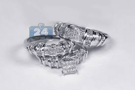 White Gold Wedding Ring Sets by Womens Mens Diamond Wedding 3 Rings Set 14k White Gold 2 63ct