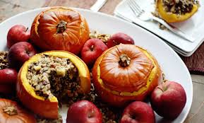 turkey pumpkins turkey rice apple and cranberry stuffed pumpkins recipe
