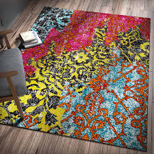 Red Blue Rug Amazon Com Treehouse Bohemian Patchwork Multi Pink Red Yellow