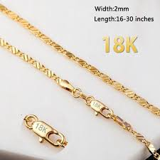 fine gold chain necklace images 16 30 inches european fashion luxury men women fashion solid 18k jpg