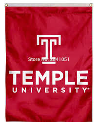 Custom Team Flags 2 Color Temple University Wordmark Logo Team American Outdoor