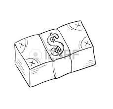 sketch of money pack with dollar symbol isolated royalty free
