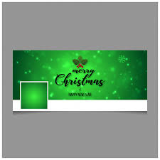 happy green color christmas facebook cover including creative typography and green