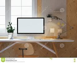 hipster workspace with computer on table at home or studio light