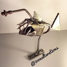 rod or rat rod ornament fish anglerfish sculpture by