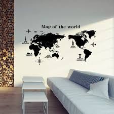 World Map Wall Sticker by Large World Map Removable Wall Art Sticker Vinyl Decal Mural