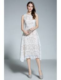 white dress a line scoop neck white lace sleeveless knee length formal dress