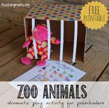 zoo animals dramatic play activity teaching mama