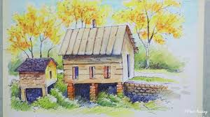 painting autumn trees house landscape ink watercolor pencil painting autumn trees house landscape ink watercolor pencil painting epi 3