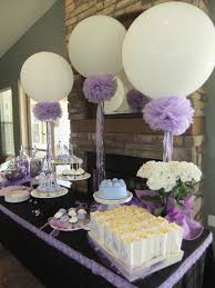 Baby Shower Table Centerpieces by Lavender Bridal Shower 36in Balloons Pompoms And Frilly Ribbons