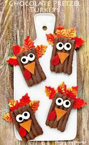 dipped chocolate pretzel turkeys thanksgiving