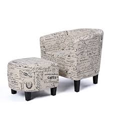 Curved Ottoman Belleze Accent Tub Chair Curved Back Print