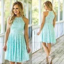 light sky blue lace short bridesmaid dresses halter neck pearls