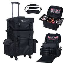 makeup travel bag images Voilamart rolling makeup case trolley 2 in 1 travel cosmetic train jpg