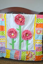 ruffle flower rag quilt for a toddler bed or crib quilt in