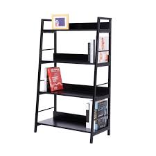 homcom 4 tiers heavy duty bookcase black aosom co uk