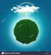 3d render of a grassy globe with a rainbow and rain cloud stock